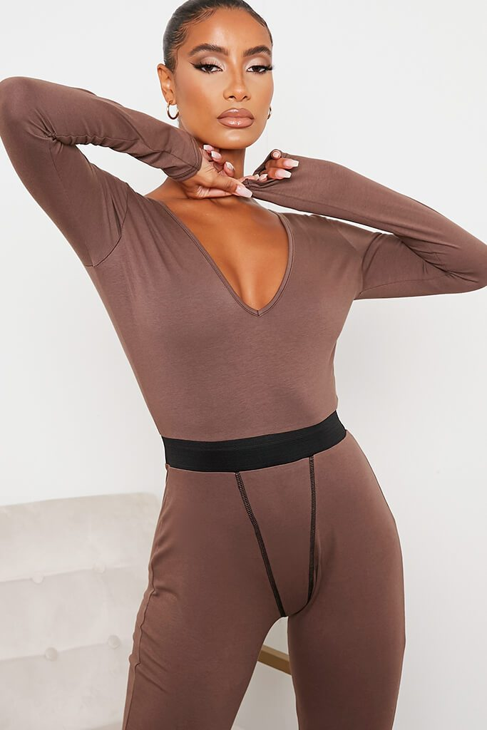 Chocolate Jersey Contrast Stitch Plunge Front Jumpsuit view 5