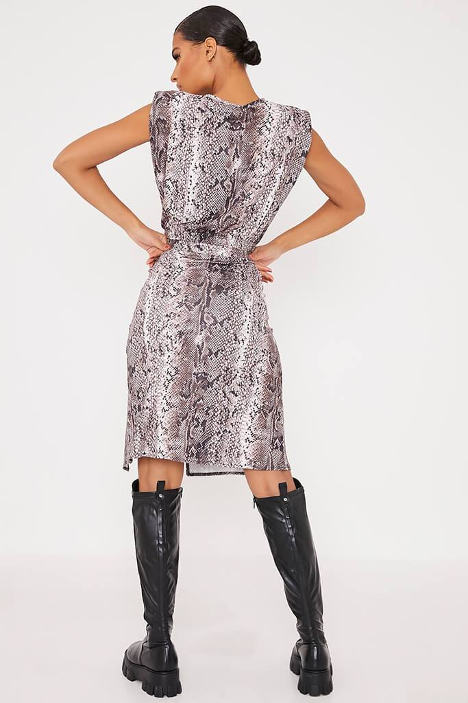 Brown Snake Printed Midi Skirt With Split view 4