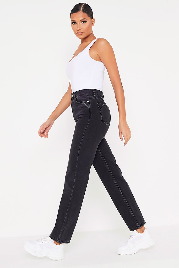 Black Premium Seamed Mom Jeans view 3