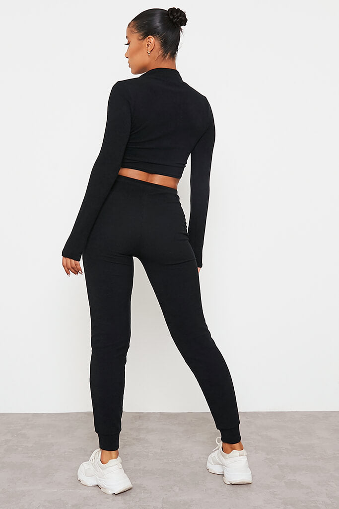 Black Soft Rib Slim Leg Jogger view 4