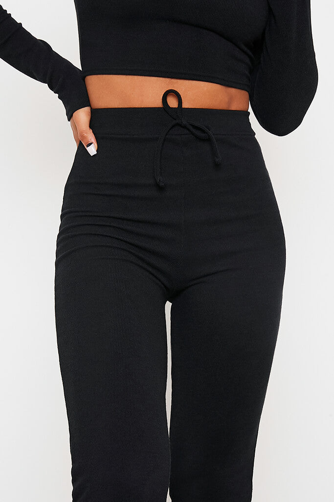 Black Soft Rib Slim Leg Jogger view 5