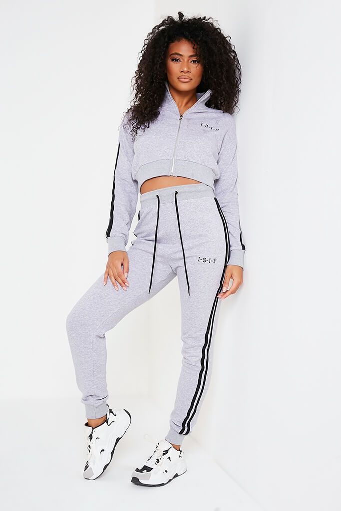 Grey Marl Embroidered Side Stripe Zip Through Jacket And Jogger Set