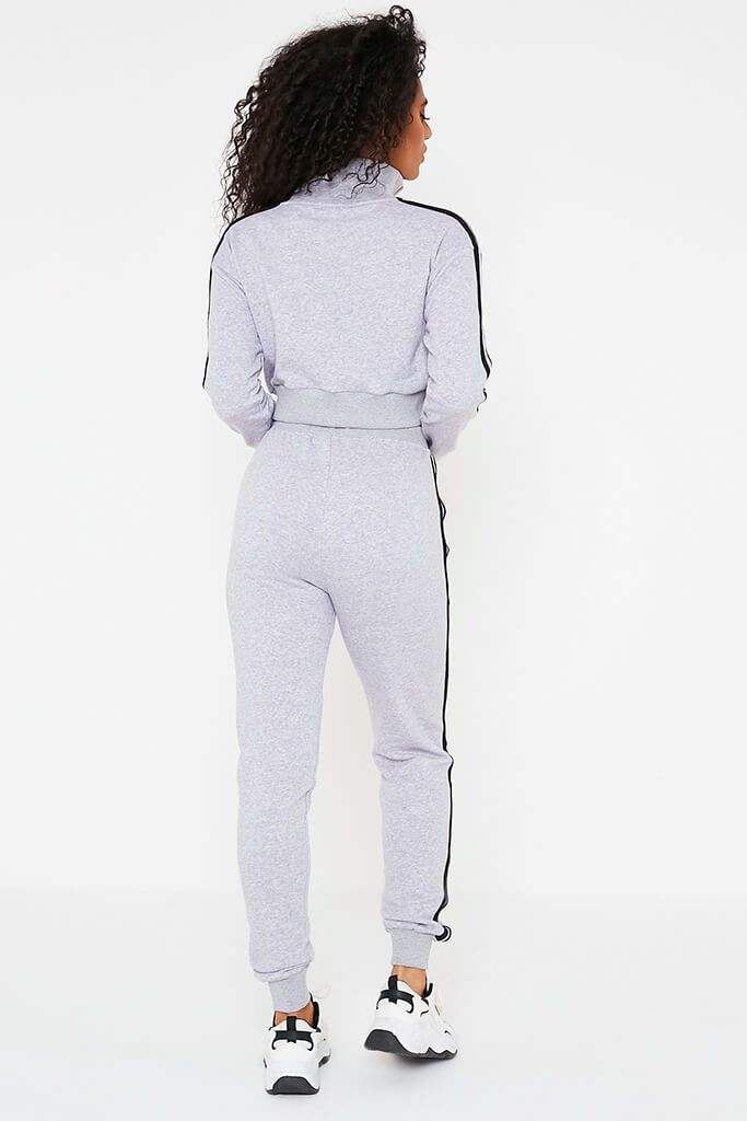 Grey Marl Embroidered Side Stripe Zip Through Jacket And Jogger Set view 4