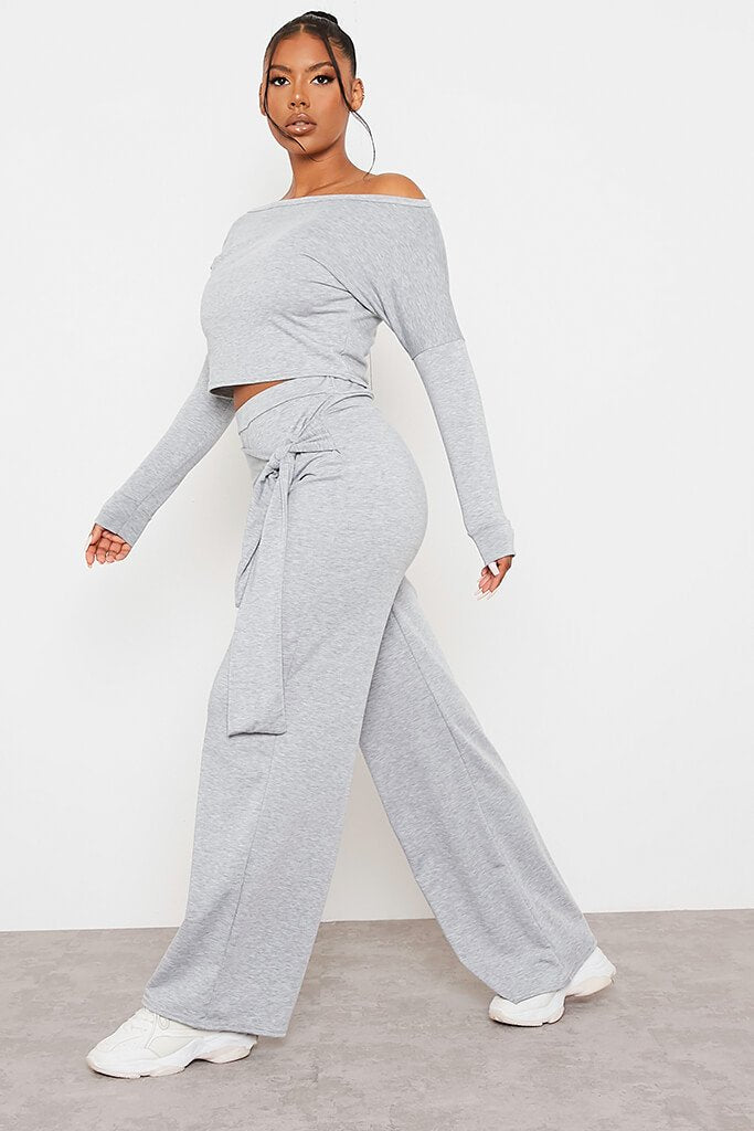 Grey Marl Sweatshirt And Wrap Front Wide Leg Trousers Co-Ord Set view 2