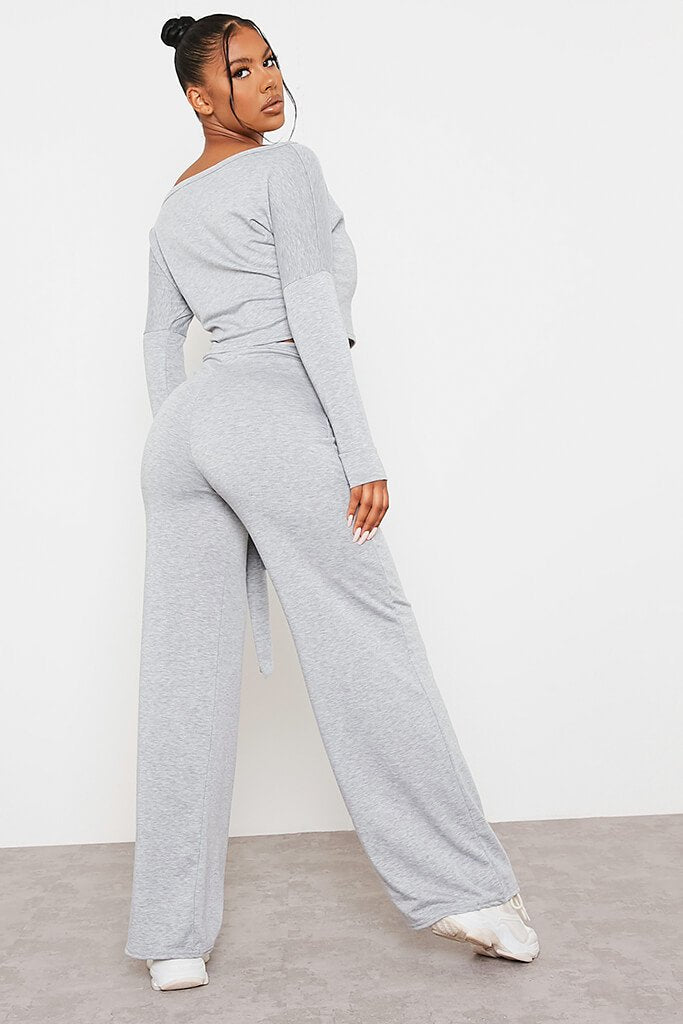 Grey Marl Sweatshirt And Wrap Front Wide Leg Trousers Co-Ord Set view 3