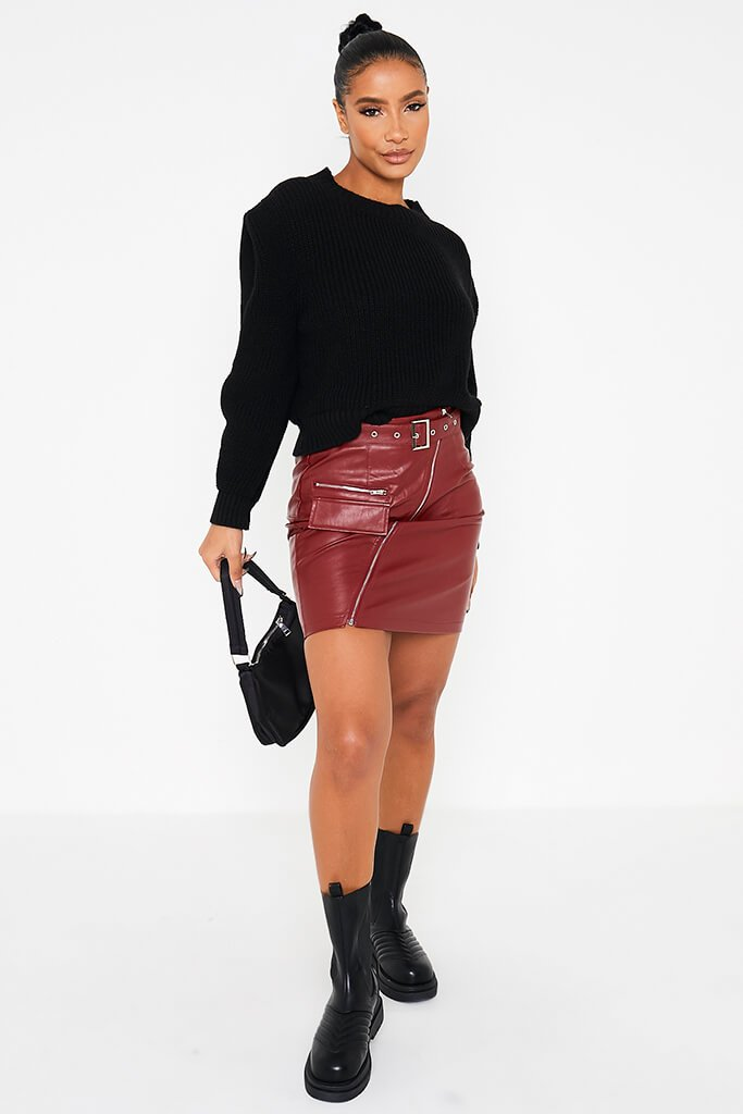 Burgundy Zip Front Belted Faux Leather Mini Skirt view 2