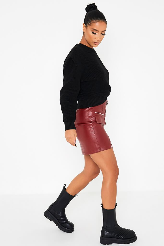 Burgundy Zip Front Belted Faux Leather Mini Skirt view 3