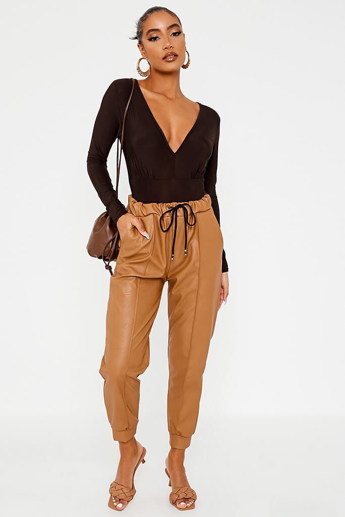 Camel Faux Leather Seam Front Joggers