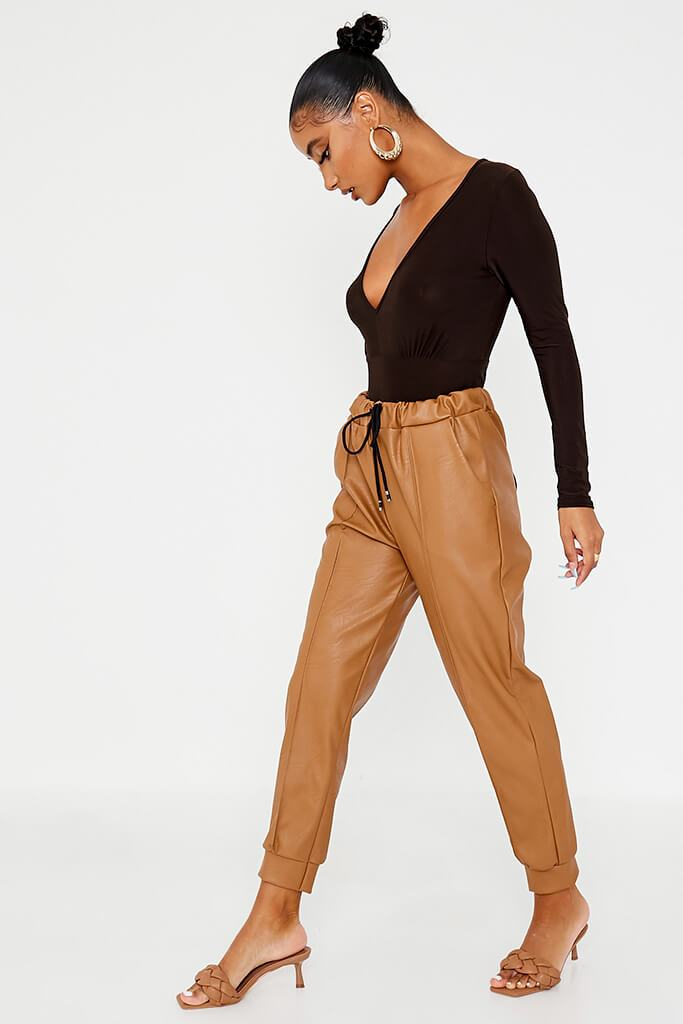 Camel Faux Leather Seam Front Joggers view 3