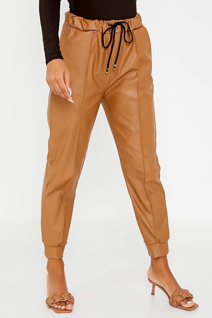Camel Faux Leather Seam Front Joggers view 2