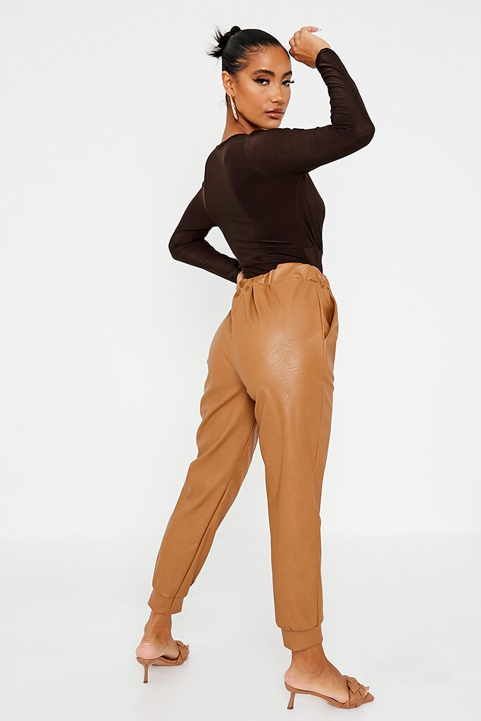 Camel Faux Leather Seam Front Joggers view 4