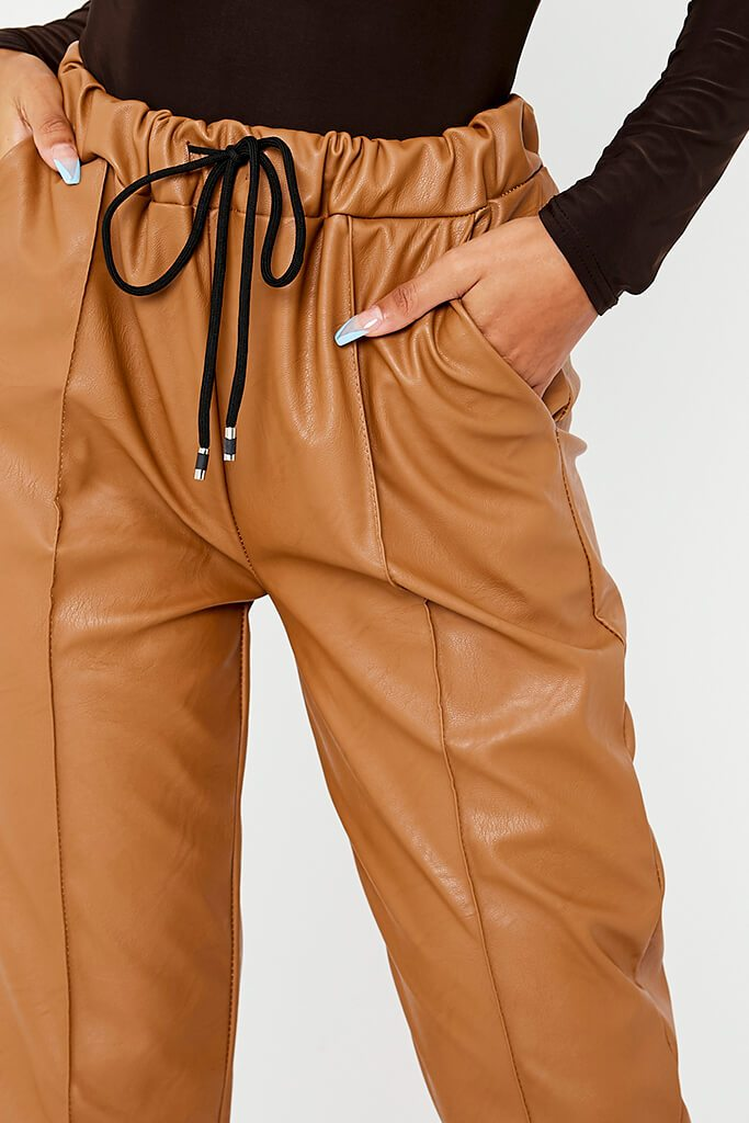 Camel Faux Leather Seam Front Joggers view 5