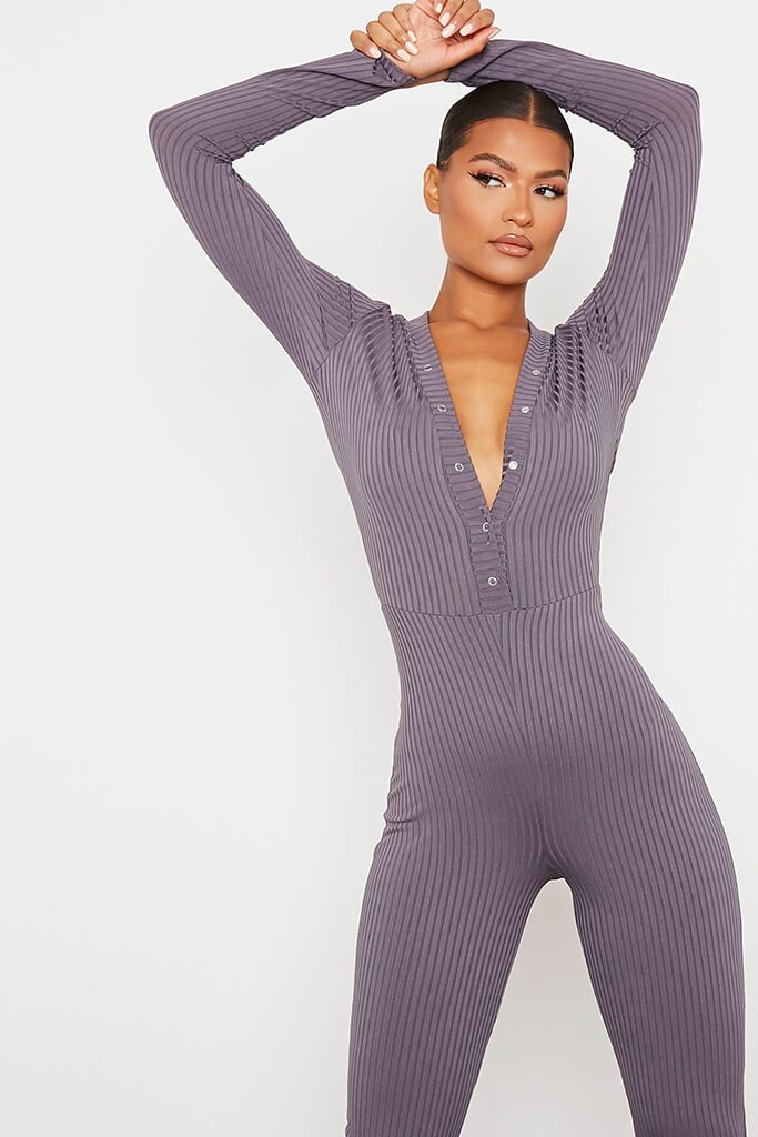Charcoal Ribbed Popper Front Skinny Leg Jumpsuit view 2