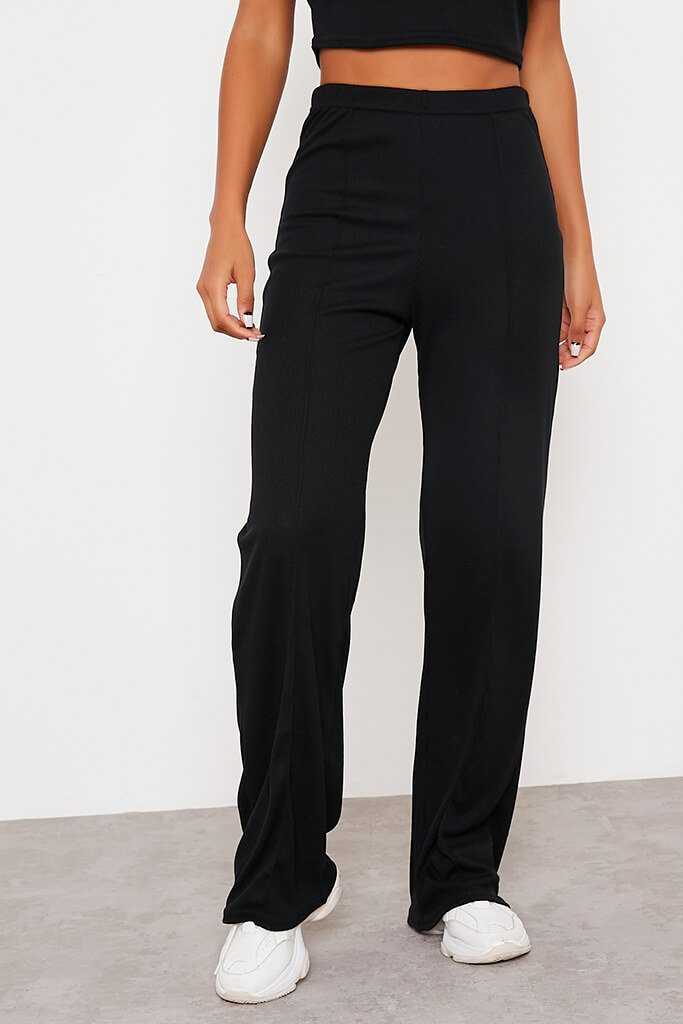 Black Soft Rib Seam Front Wide Leg Trousers view 2