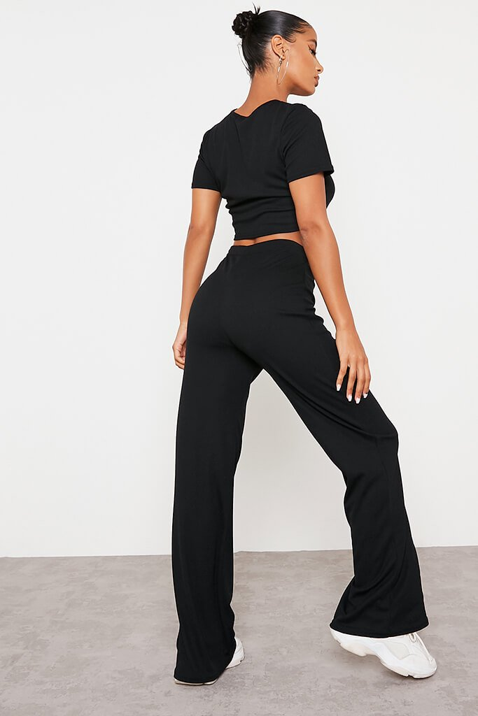 Black Soft Rib Seam Front Wide Leg Trousers view 4
