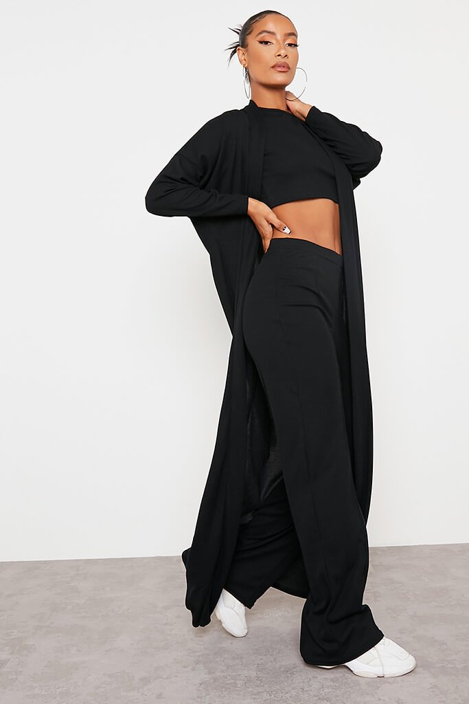 Black Soft Rib Seam Front Wide Leg Trousers view 3