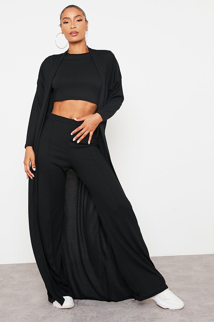 Black Soft Rib Seam Front Wide Leg Trousers view main view