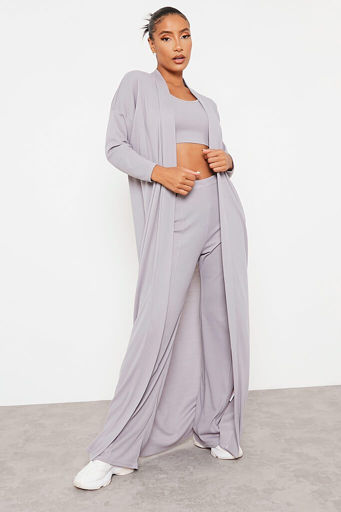 Grey Soft Rib Maxi Cardigan