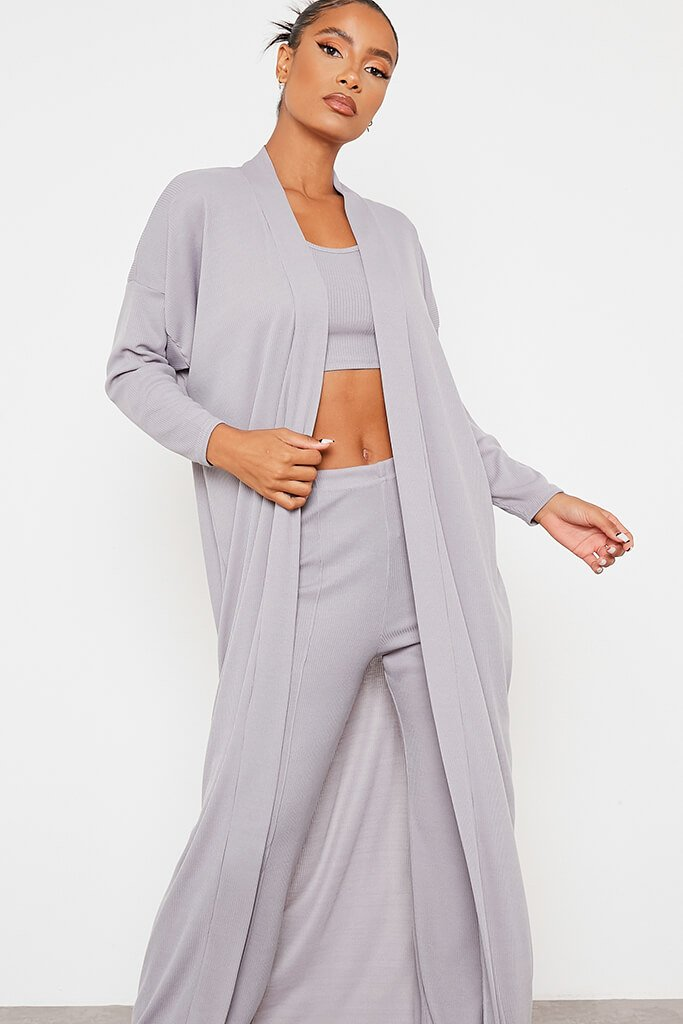 Grey Soft Rib Maxi Cardigan view 2