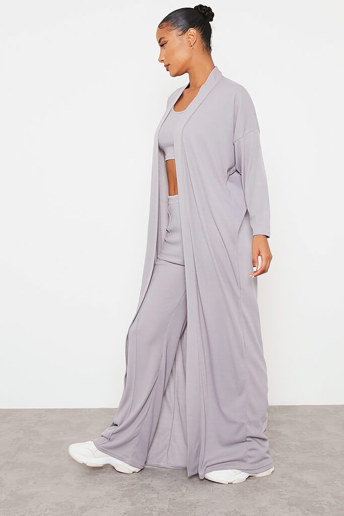 Grey Soft Rib Maxi Cardigan view 3