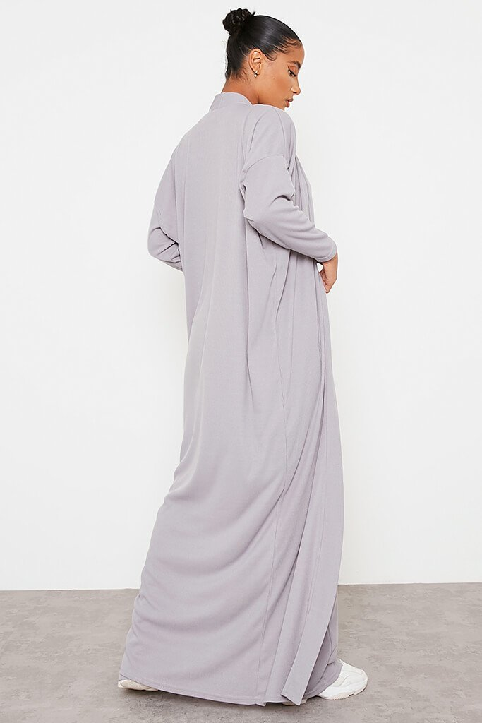 Grey Soft Rib Maxi Cardigan view 4