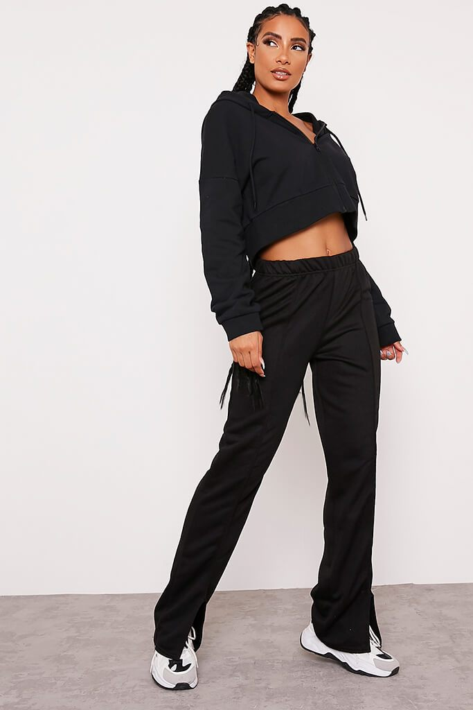 Black Pin Tuck Split Front Joggers