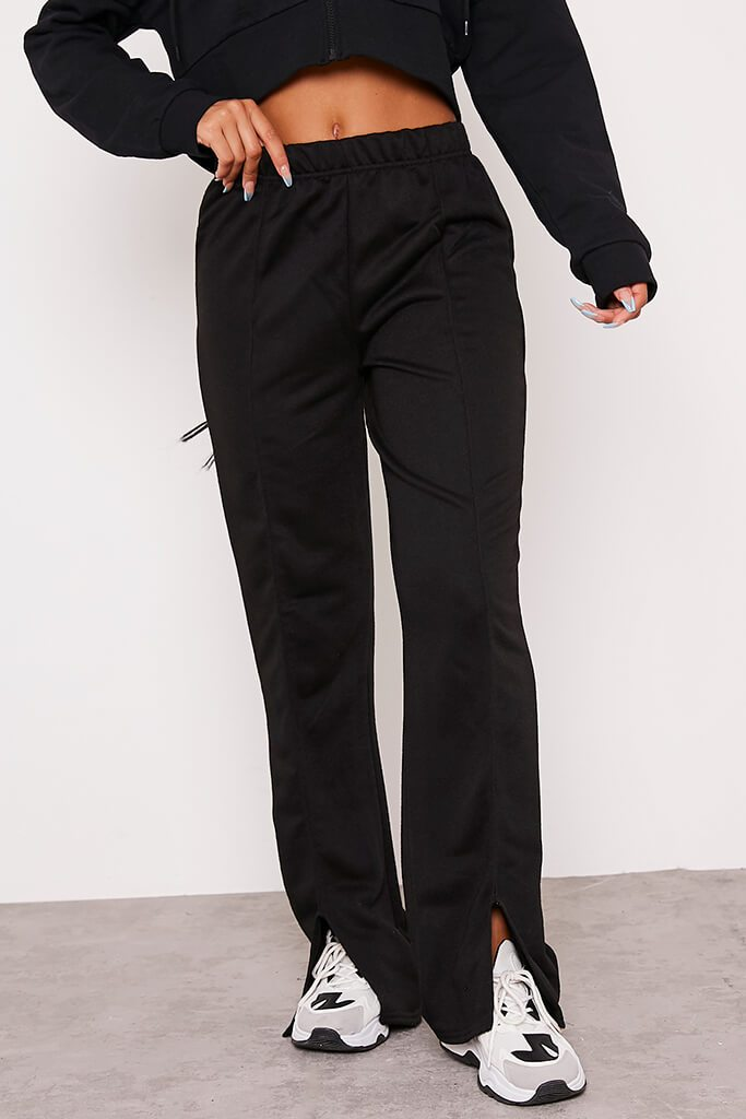 Black Pin Tuck Split Front Joggers view 4