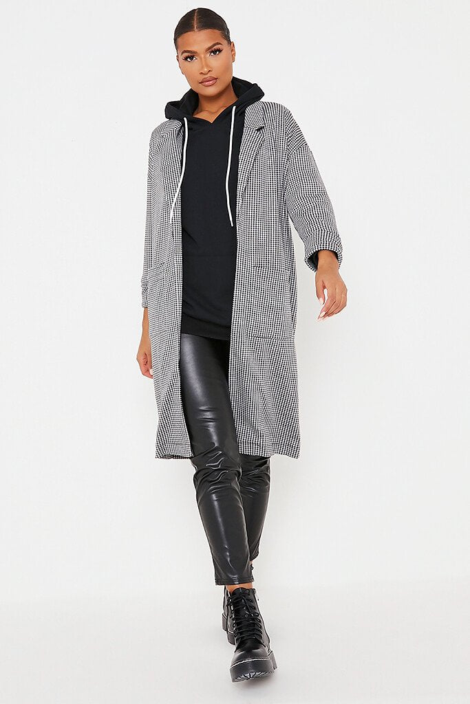 Black & White Dogtooth Duster Coat view 2