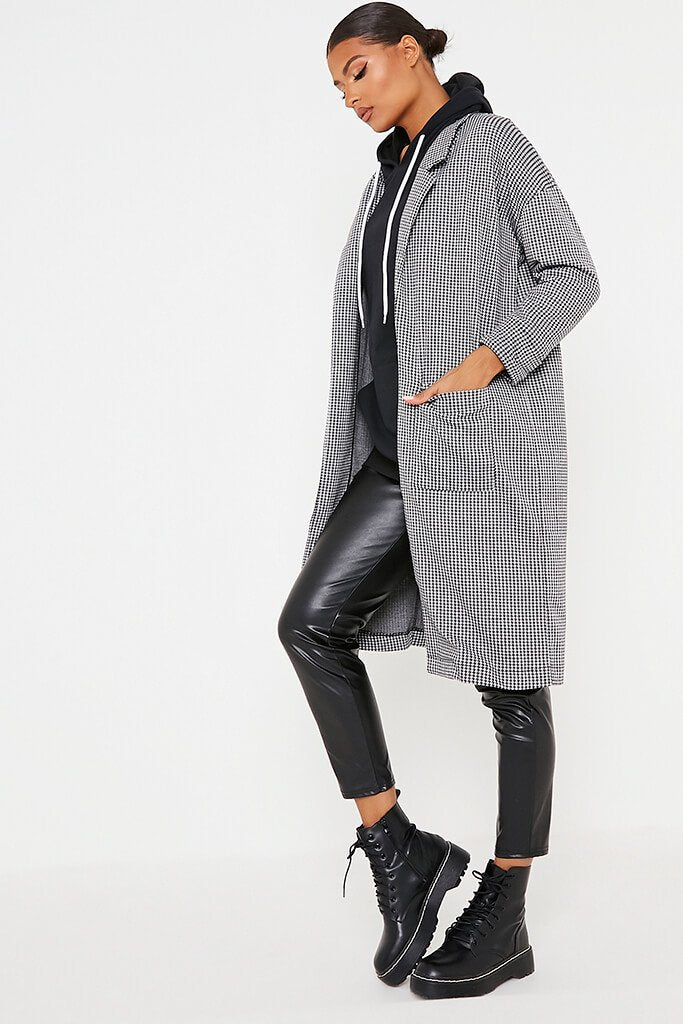 Black & White Dogtooth Duster Coat view 3