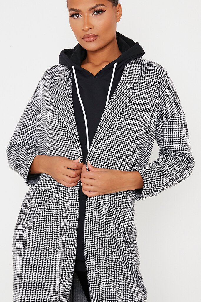 Black & White Dogtooth Duster Coat view 5