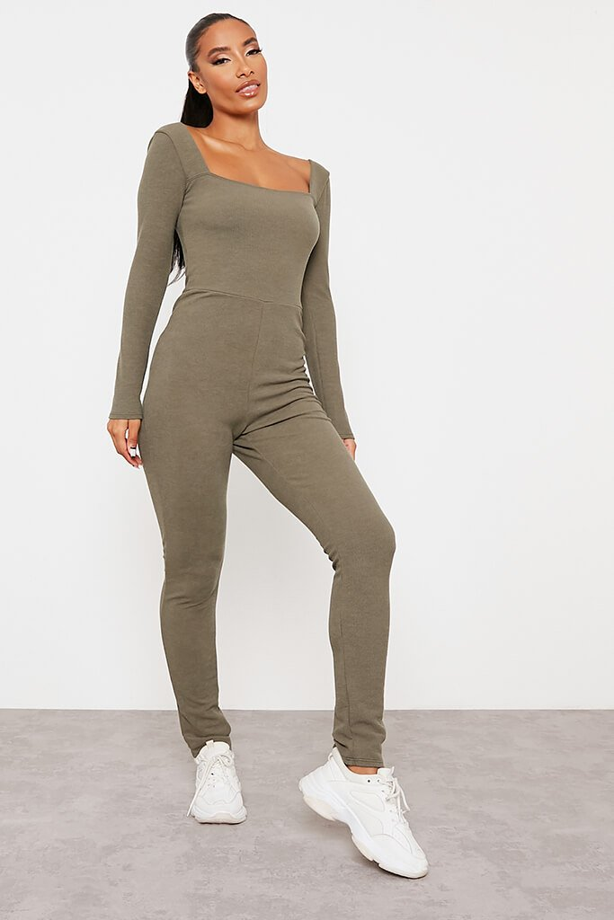 Khaki Crinkle Rib Sculpt Square Neck Jumpsuit view main view