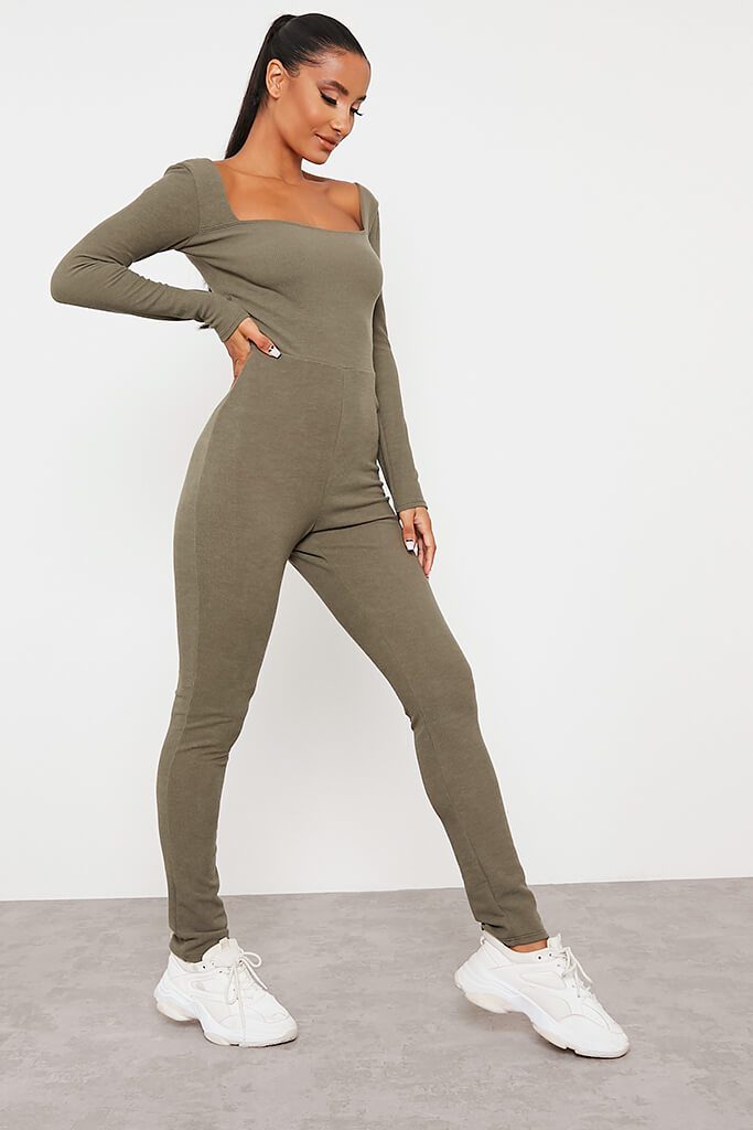 Khaki Crinkle Rib Sculpt Square Neck Jumpsuit view 3