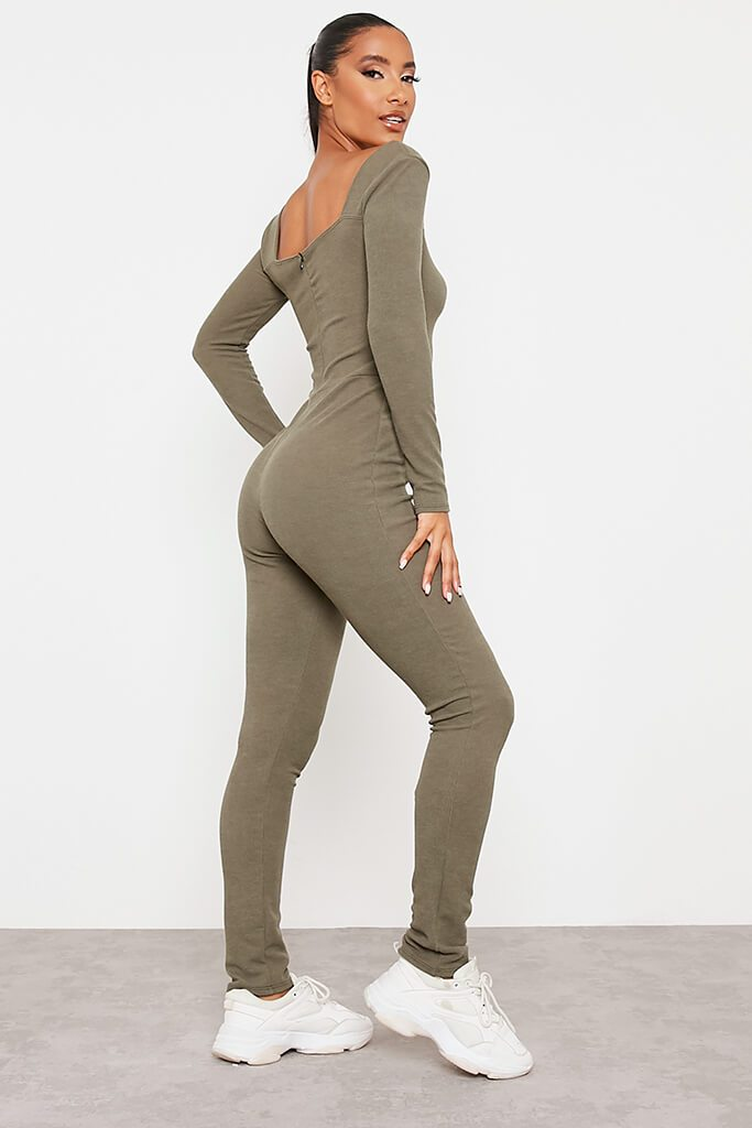 Khaki Crinkle Rib Sculpt Square Neck Jumpsuit view 4