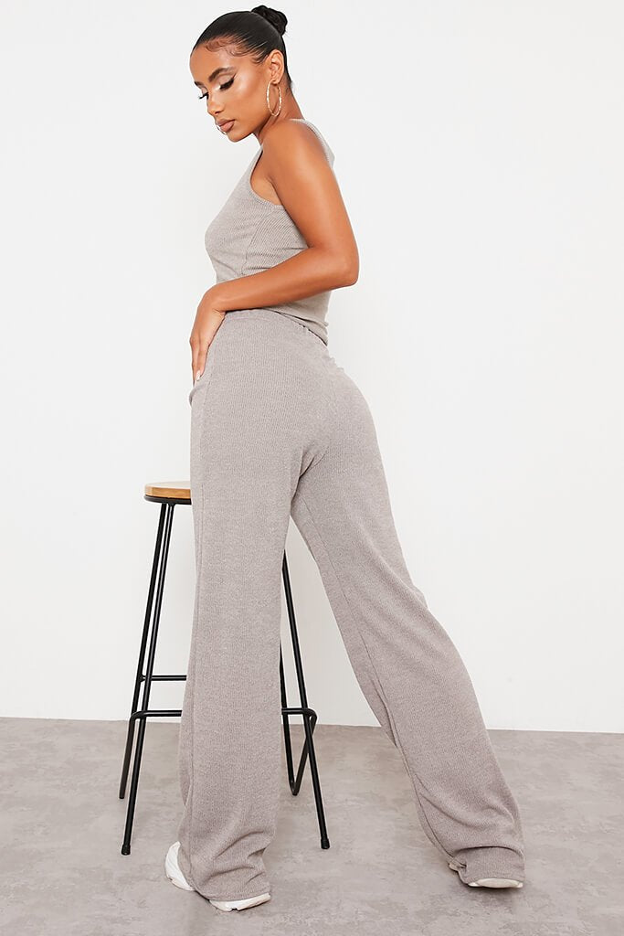 Taupe Soft Rib Wide Leg Trousers view 4