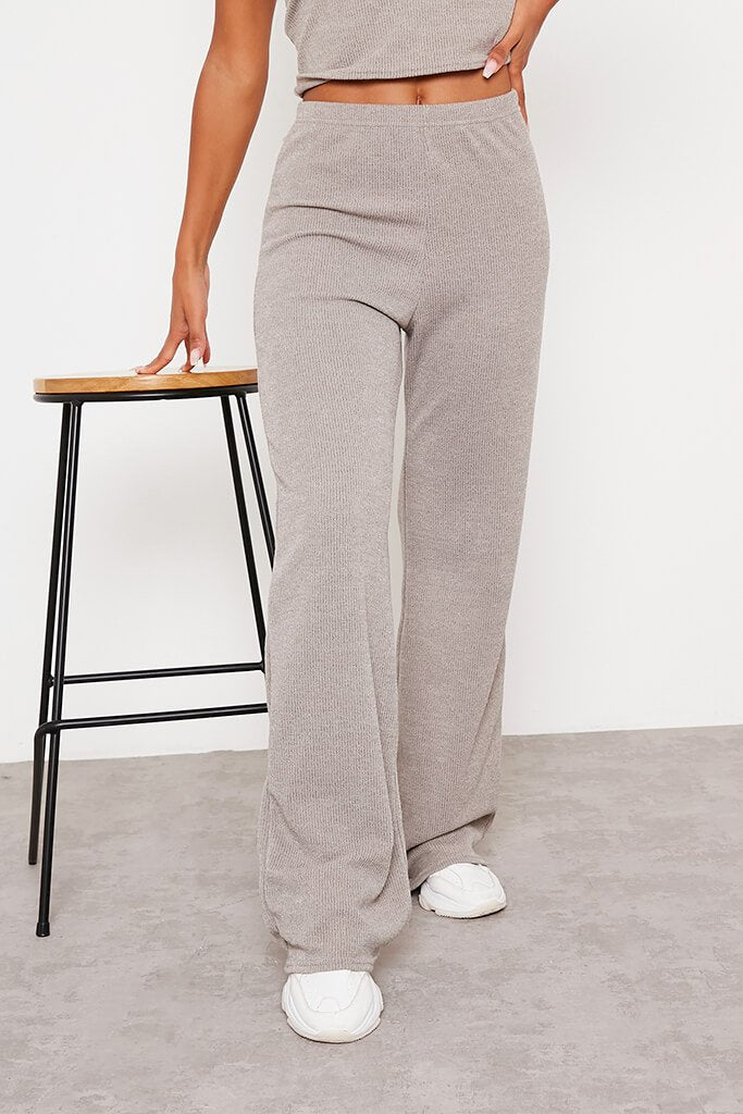 Taupe Soft Rib Wide Leg Trousers view 2