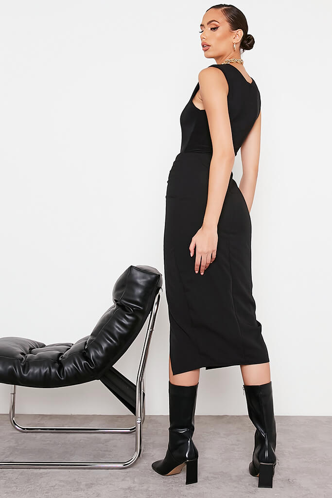 Black Ruched Split Front Midi Skirt view 4