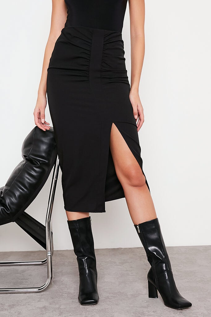 Black Ruched Split Front Midi Skirt view 2