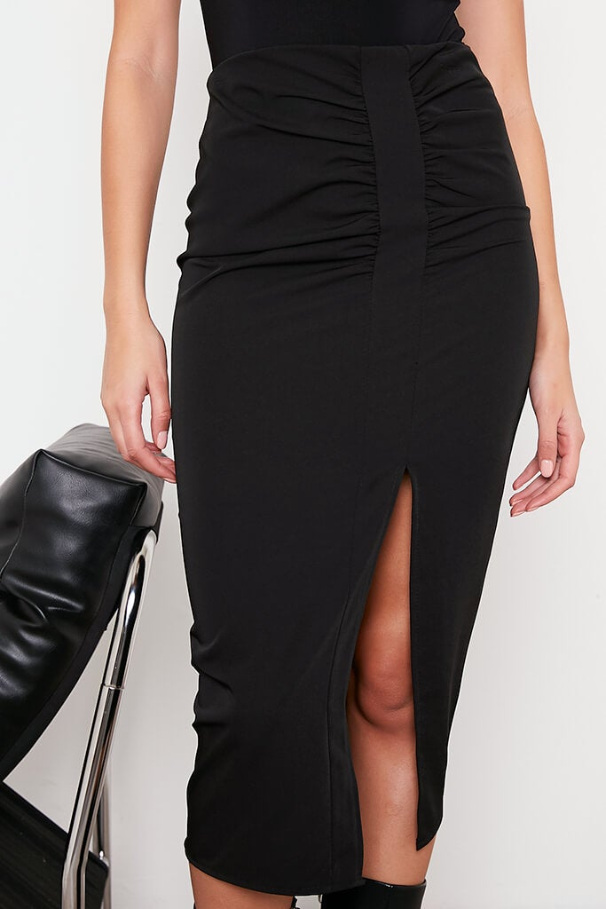 Black Ruched Split Front Midi Skirt view 5