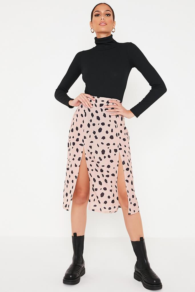 Stone Ditsy Floral Double Split Midi Skirt view main view