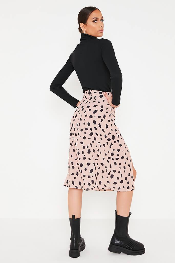 Stone Ditsy Floral Double Split Midi Skirt view 4