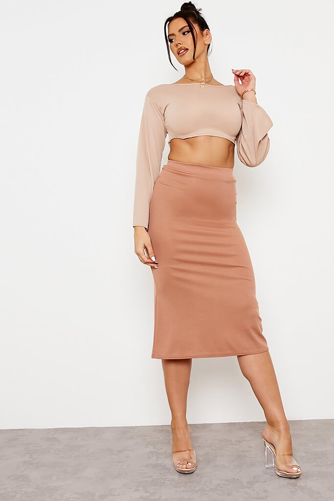 Camel Ribbed Floaty Midi Skirt