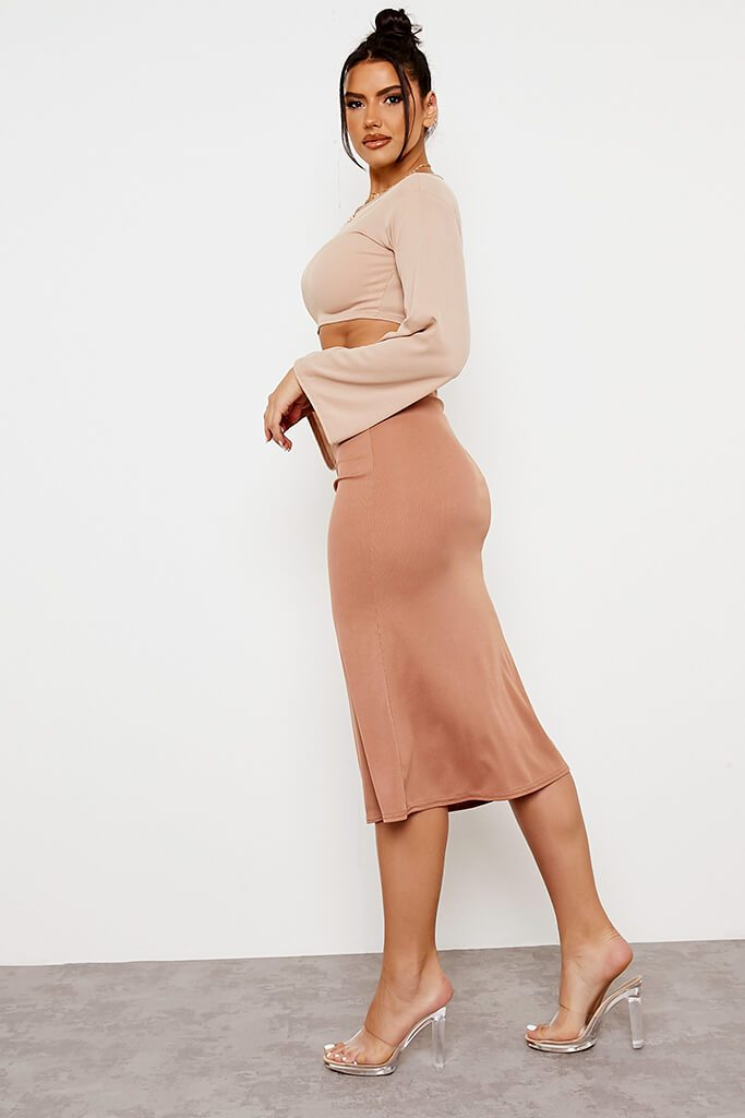 Camel Ribbed Floaty Midi Skirt view 3