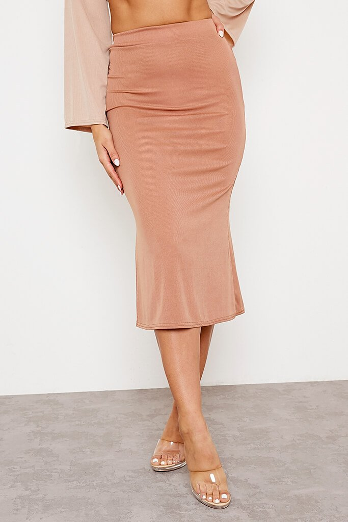 Camel Ribbed Floaty Midi Skirt view 2