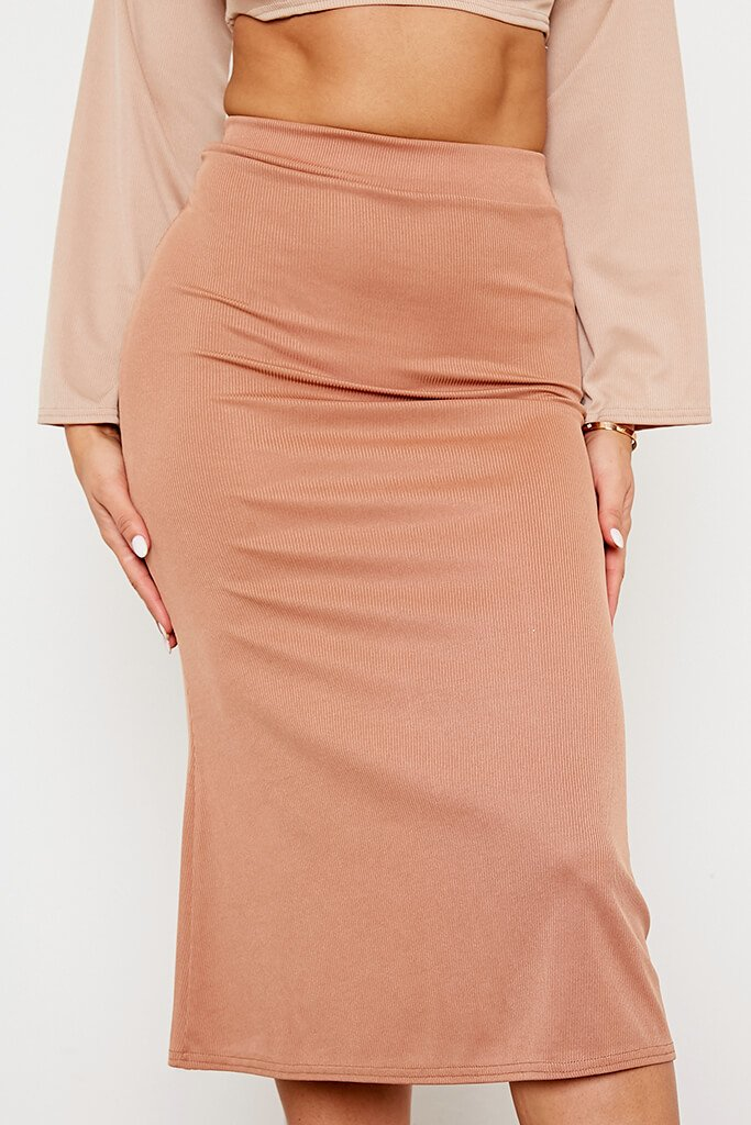 Camel Ribbed Floaty Midi Skirt view 4