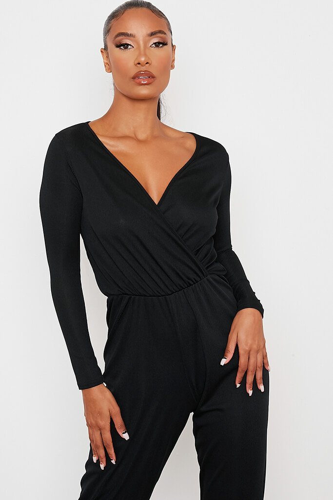 Black Ribbed Wrap Front Jumpsuit view 2