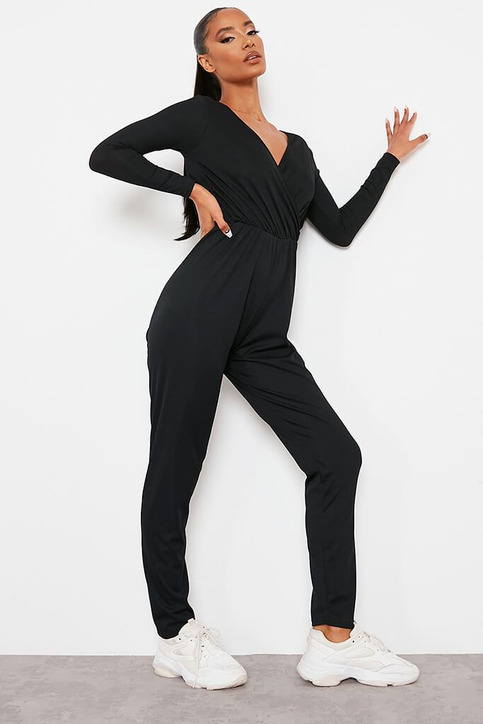 Black Ribbed Wrap Front Jumpsuit view 3