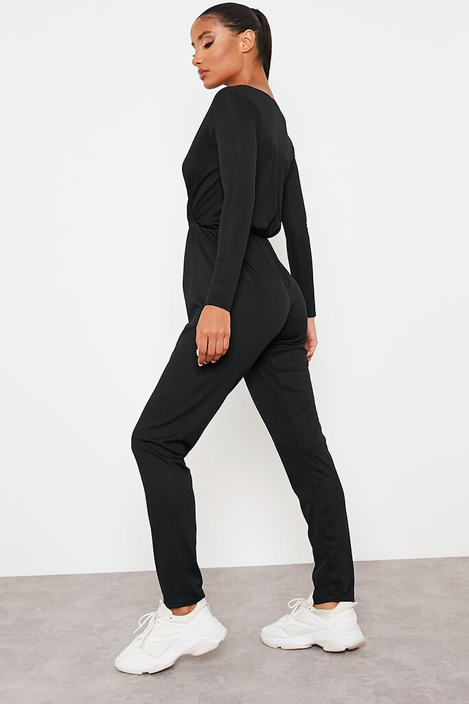 Black Ribbed Wrap Front Jumpsuit view 4