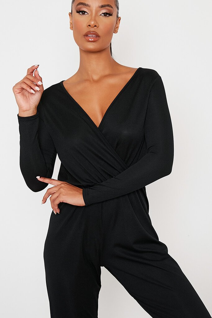 Black Ribbed Wrap Front Jumpsuit view 5