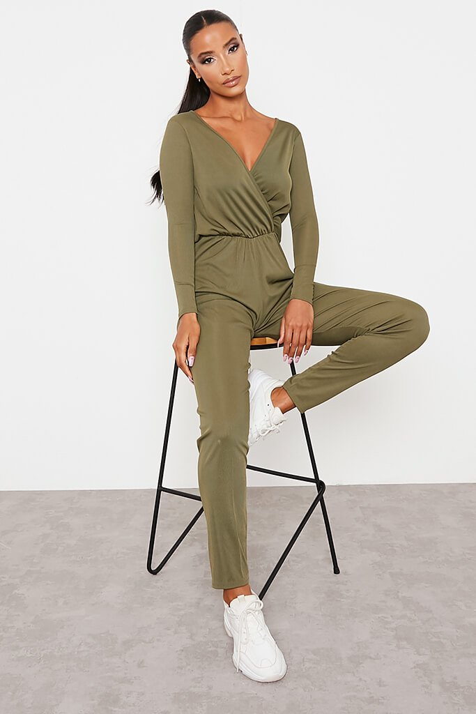 Khaki Ribbed Wrap Front Wide Leg Jumpsuit