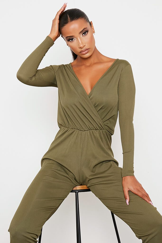 Khaki Ribbed Wrap Front Wide Leg Jumpsuit view 2